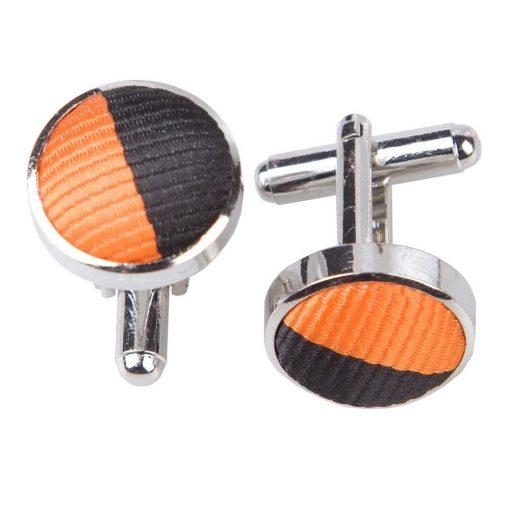Orange & Black Striped Cufflinks