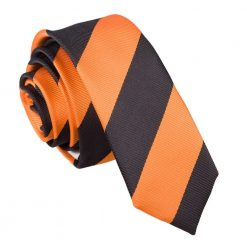 Orange & Black Striped Skinny Tie