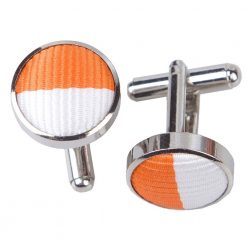 Orange & White Striped Cufflinks
