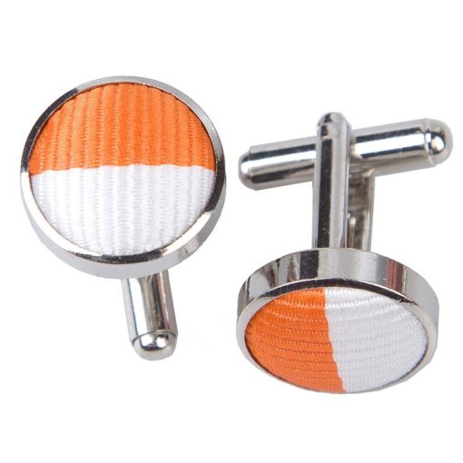Orange & White Striped Cufflinks