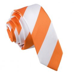 Orange & White Striped Skinny Tie