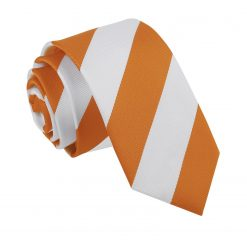 Orange & White Striped Slim Tie