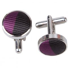 Purple & Black Striped Cufflinks