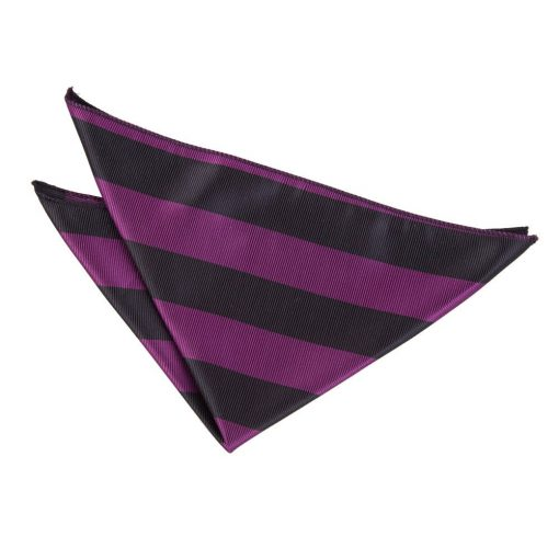 Purple & Black Striped Handkerchief / Pocket Square