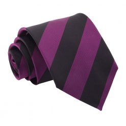 Purple & Black Striped Classic Tie