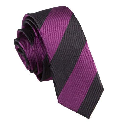 Purple & Black Striped Skinny Tie