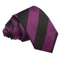 Purple & Black Striped Slim Tie