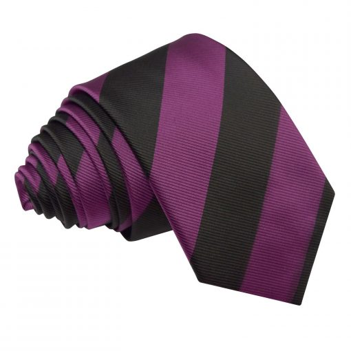 Purple & Black Striped Slim Tie