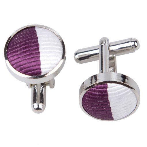 Purple & White Striped Cufflinks