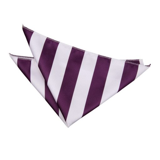 Purple & White Striped Pocket Square