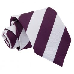 Purple & White Striped Classic Tie
