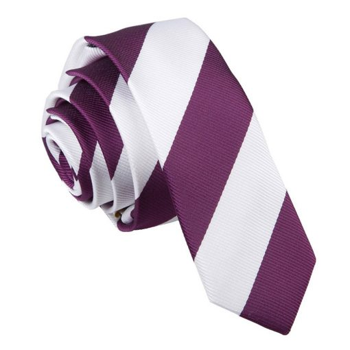 Purple & White Striped Skinny Tie
