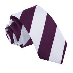 Purple & White Striped Slim Tie