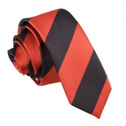 Red & Black Striped Skinny Tie