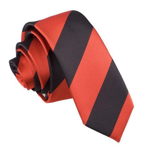 Red & Black Striped Skinny Tie