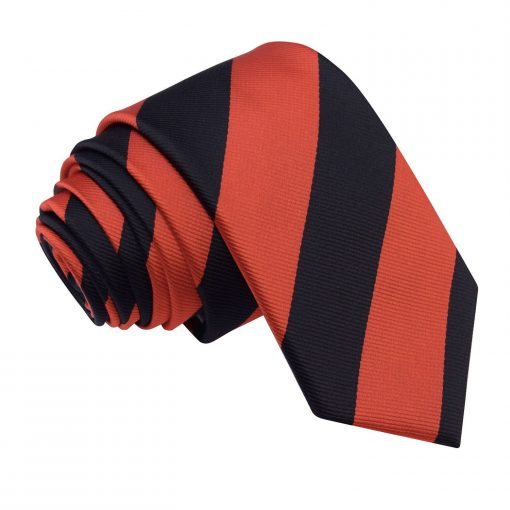 Red & Black Striped Slim Tie