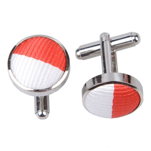 Red & White Striped Cufflinks