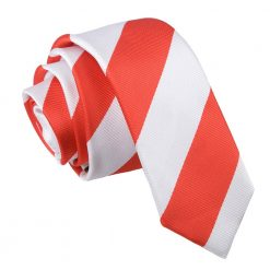 Red & White Striped Skinny Tie