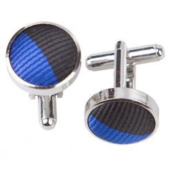 Royal Blue & Black Striped Cufflinks
