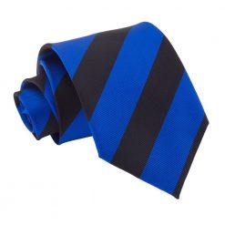Royal Blue & Black Striped Classic Tie