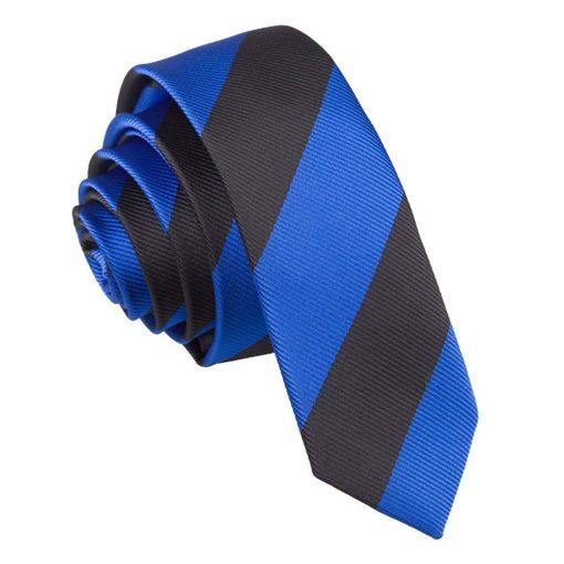 Royal Blue & Black Striped Skinny Tie