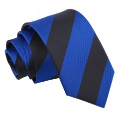 Royal Blue & Black Striped Slim Tie