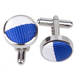 Royal Blue & White Striped Cufflinks