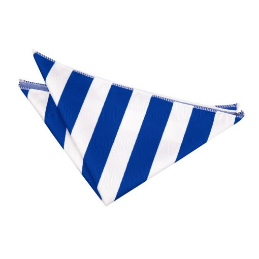Royal Blue & White Striped Handkerchief / Pocket Square