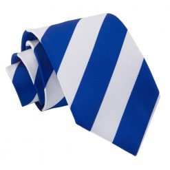 Royal Blue & White Striped Classic Tie