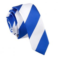 Royal Blue & White Striped Skinny Tie