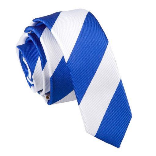 Royal Blue & White Striped Skinny Tie
