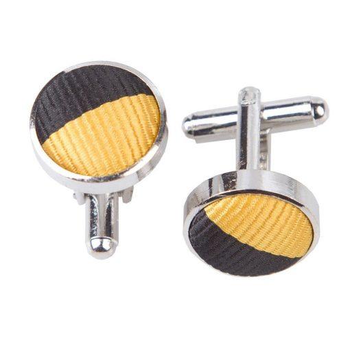 Yellow & Black Striped Cufflinks