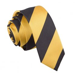 Yellow & Black Striped Skinny Tie