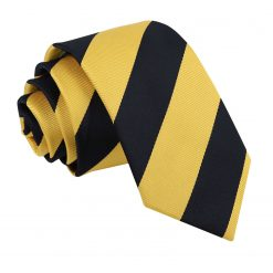 Yellow & Black Striped Slim Tie