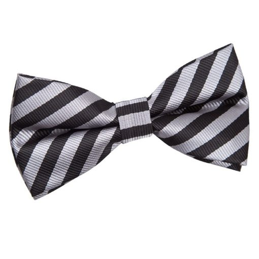 Black & Grey Thin Stripe Pre-Tied Bow Tie