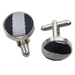 Black & Grey Thin Stripe Cufflinks