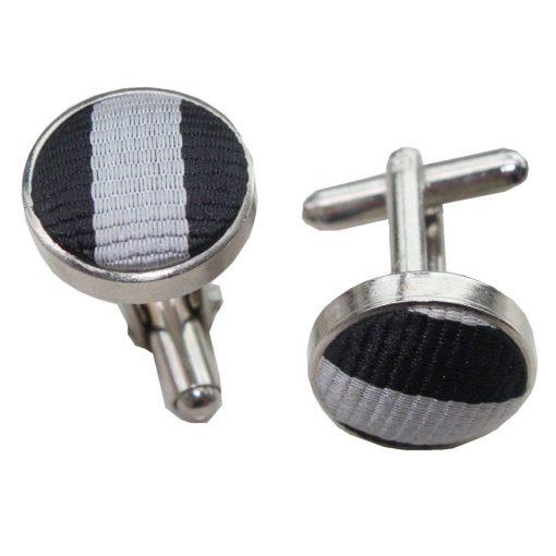 Black & Grey Thin Stripe Cufflinks
