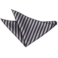 Black & Grey Thin Stripe Pocket Square