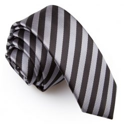 e8bf36f26315 Black & Grey Thin Stripe Skinny Tie