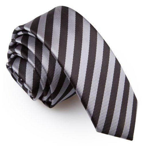 Black & Grey Thin Stripe Skinny Tie