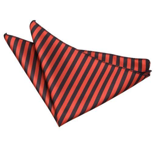 Black & Red Thin Stripe Pocket Square