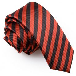 Black & Red Thin Stripe Skinny Tie