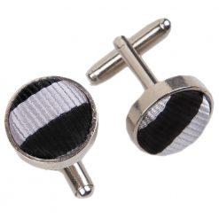 Black & Silver Thin Stripe Cufflinks