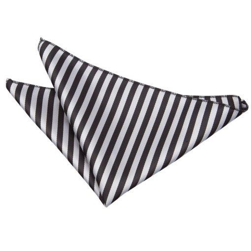 Black & Silver Thin Stripe Handkerchief / Pocket Square