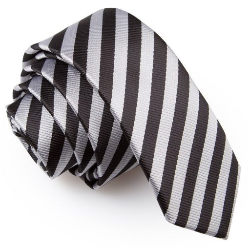 Black & Silver Thin Stripe Skinny Tie