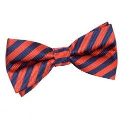 Navy Blue & Red Thin Stripe Pre-Tied Bow Tie
