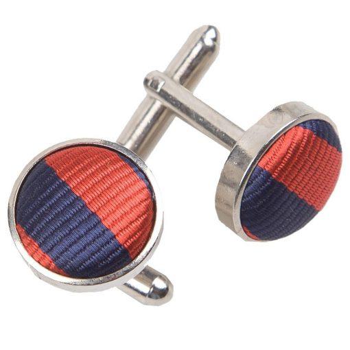 Navy Blue & Red Thin Stripe Cufflinks