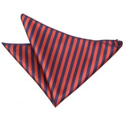 Navy Blue & Red Thin Stripe Pocket Square