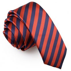 Navy Blue & Red Thin Stripe Skinny Tie