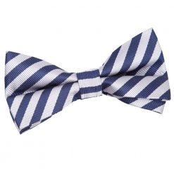 Navy Blue & Silver Thin Stripe Pre-Tied Bow Tie